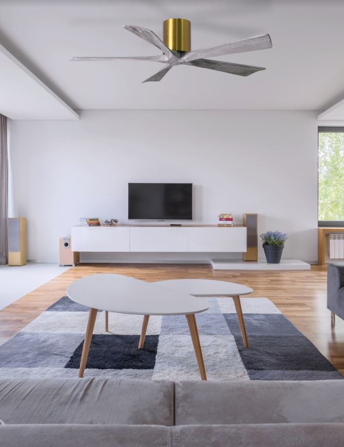 ventilateur plafond atlas fan irene en bois vieilli avec télécommande